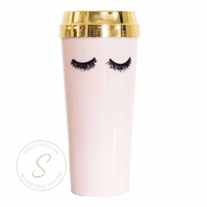 Pink Eyelashes Gold Travel Mug