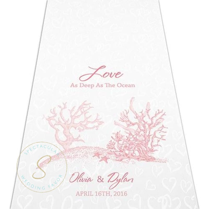 Reef Coral Personalized Aisle Runner Beach Themed Ceremony