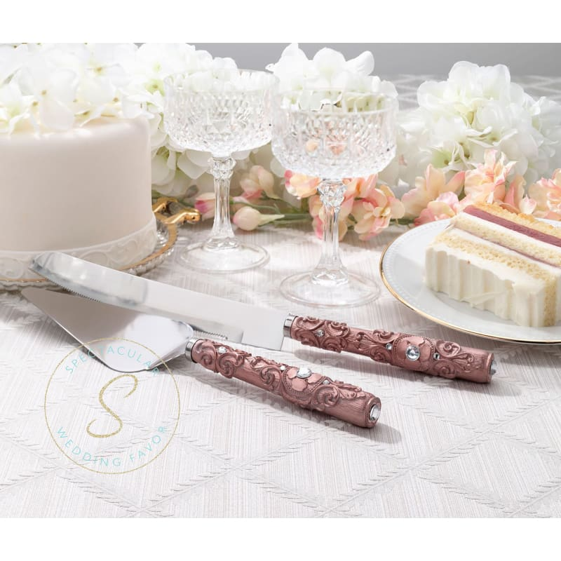 Rose Gold Knife & Server Set
