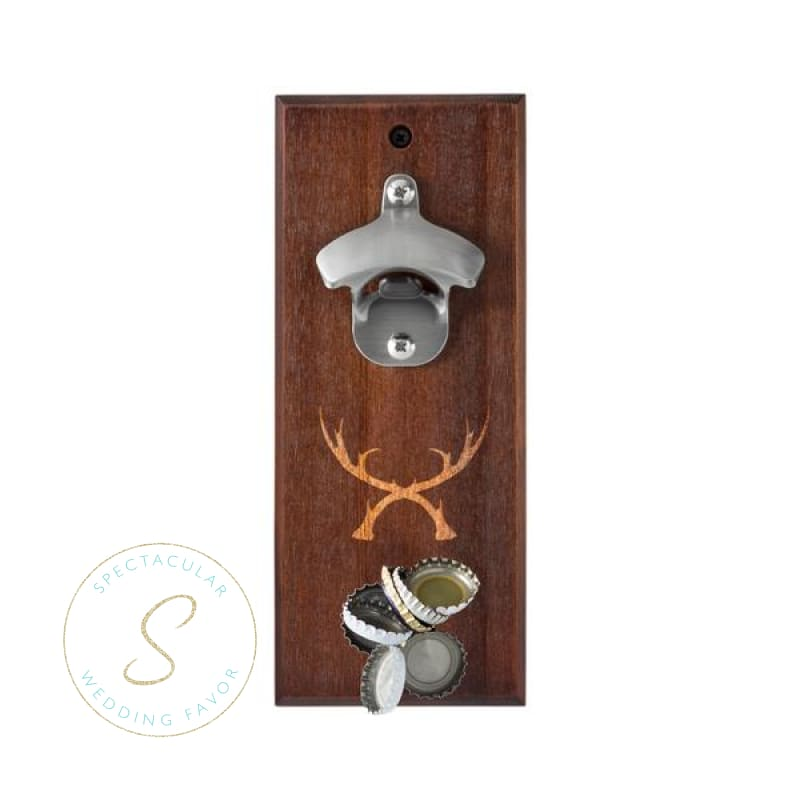 Rustic Antler Wall Mount Bottle Opener With Magnetic Cap Catcher