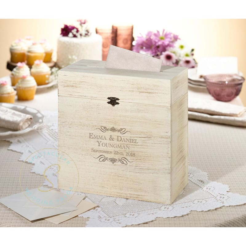 Rustic Wood Card Box Scroll Name Personalized