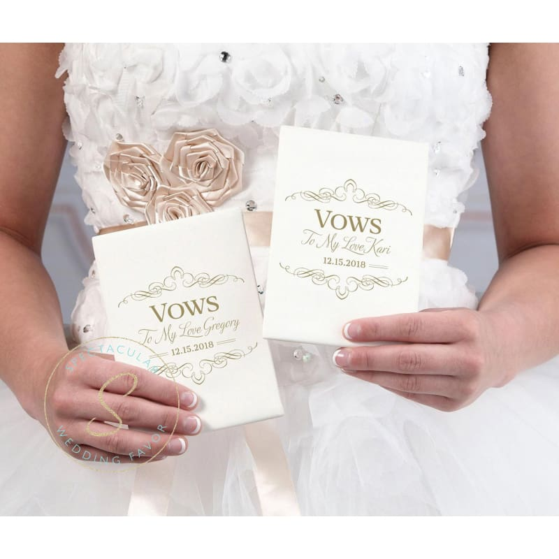 Set Of 2 Ivory Satin Vows Books Personalized
