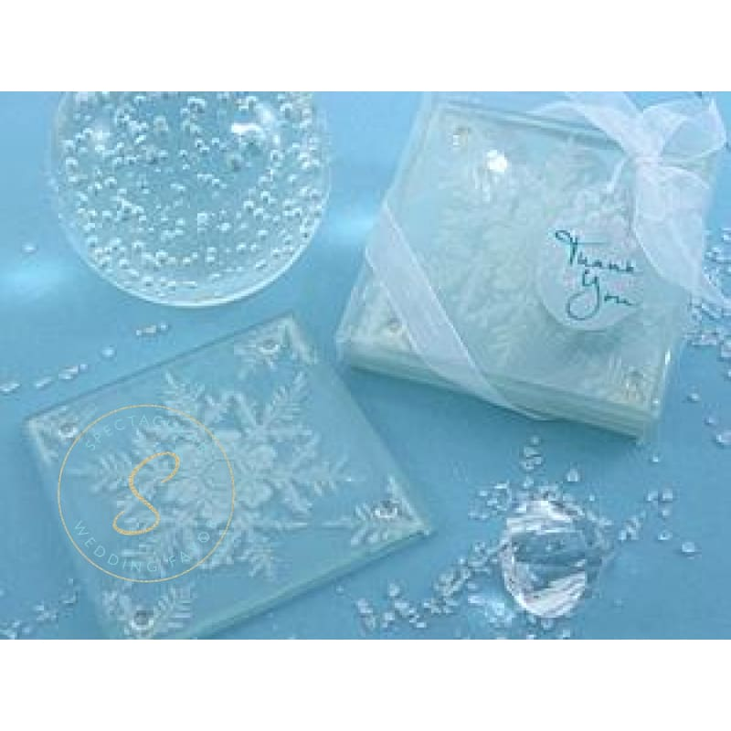 Shimmering Snow Crystal Frosted Snowflake Glass Coasters Favor (Set Of 2)