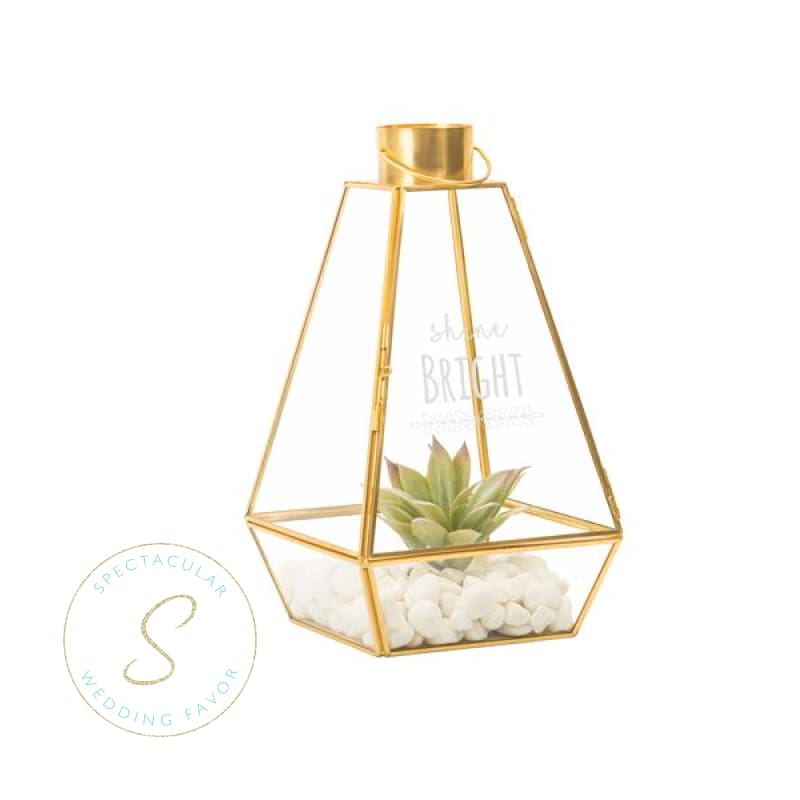 Shine Bright Gold Metal Lantern