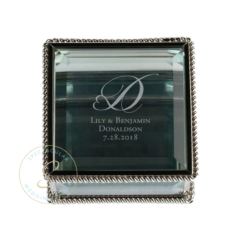 Silver Square Glass Ring Box Heart Monogram Personalized
