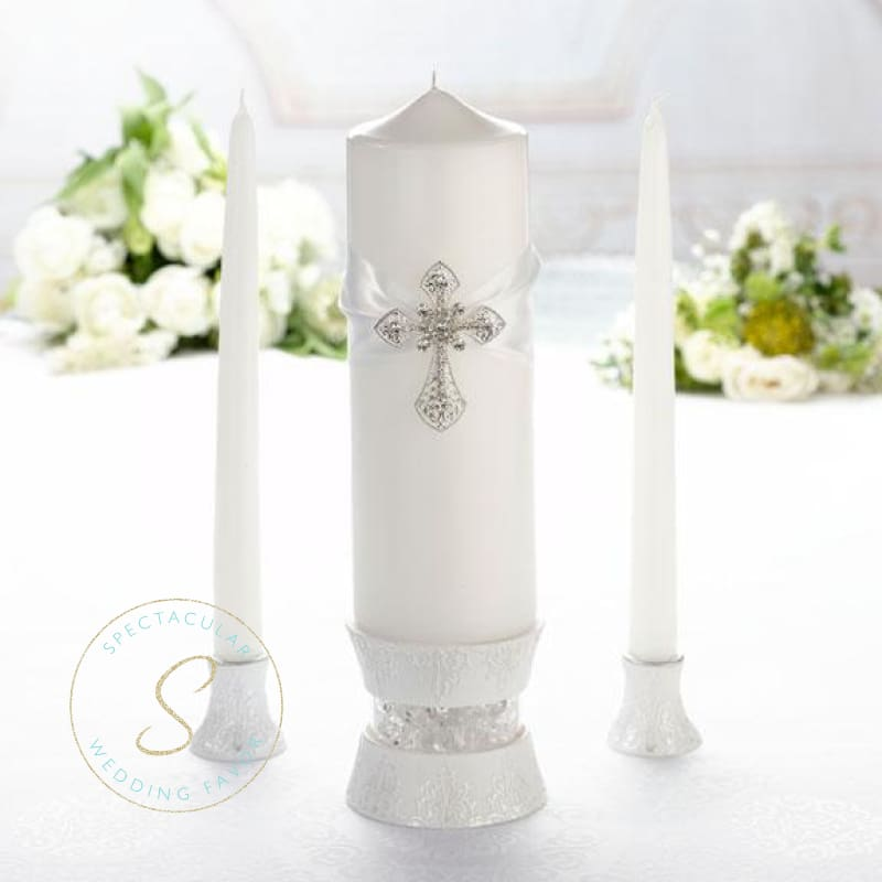 Silver White Cross Unity Candles Wedding Ceremony