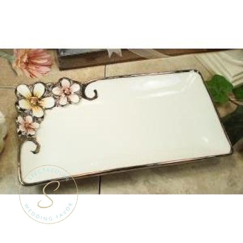 Silver White Pastel Collection Rectangular Platter