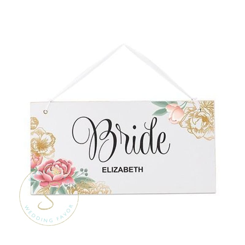 Small Personalized Wooden Wedding Sign - White Modern Floral - Bride