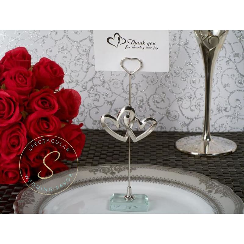 Spectacular Wedding Favor Two Hearts Become One Silver Place Card