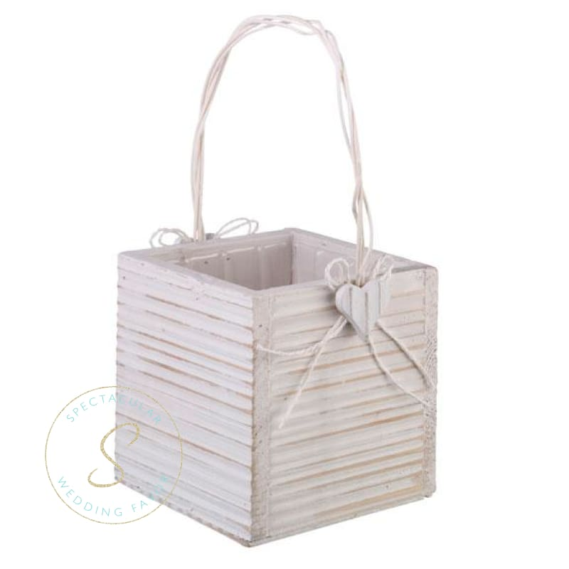 White Wood Flower Basket