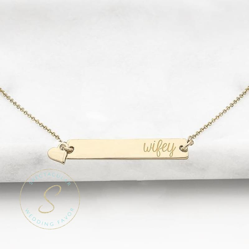 Wifey Gold Horizontal Bar Necklace
