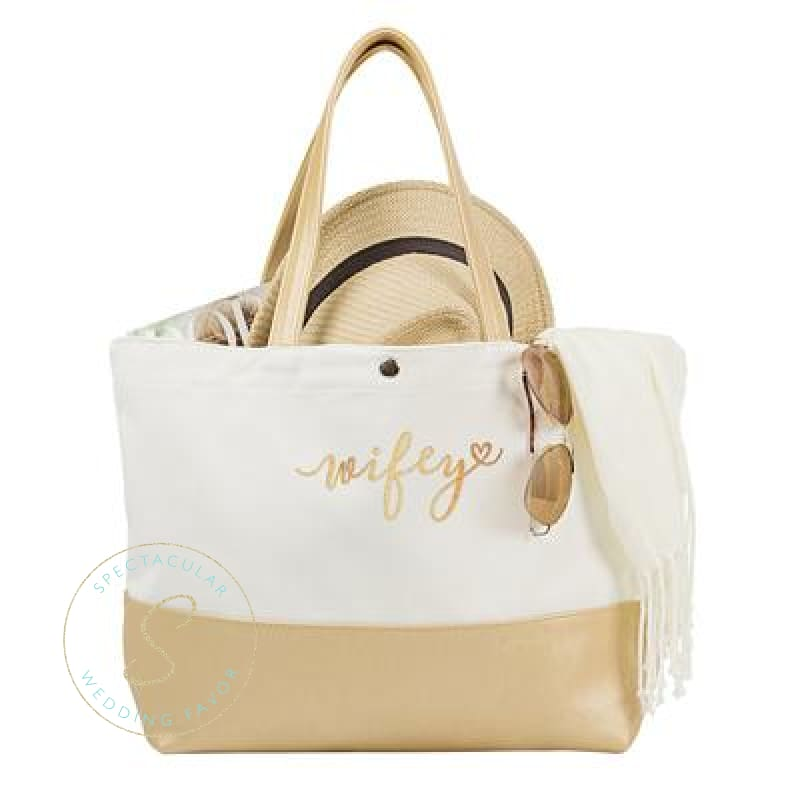 Wifey Metallic Color Dipped Tote Bag Gold