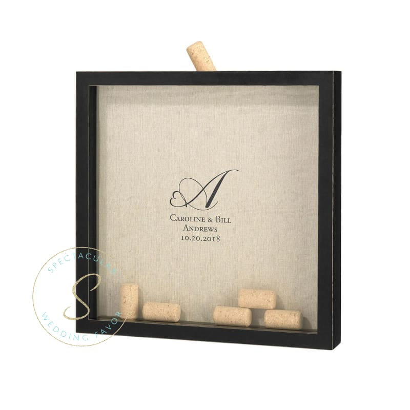Wine Cork Holder Frame Heart Monogram Personalization