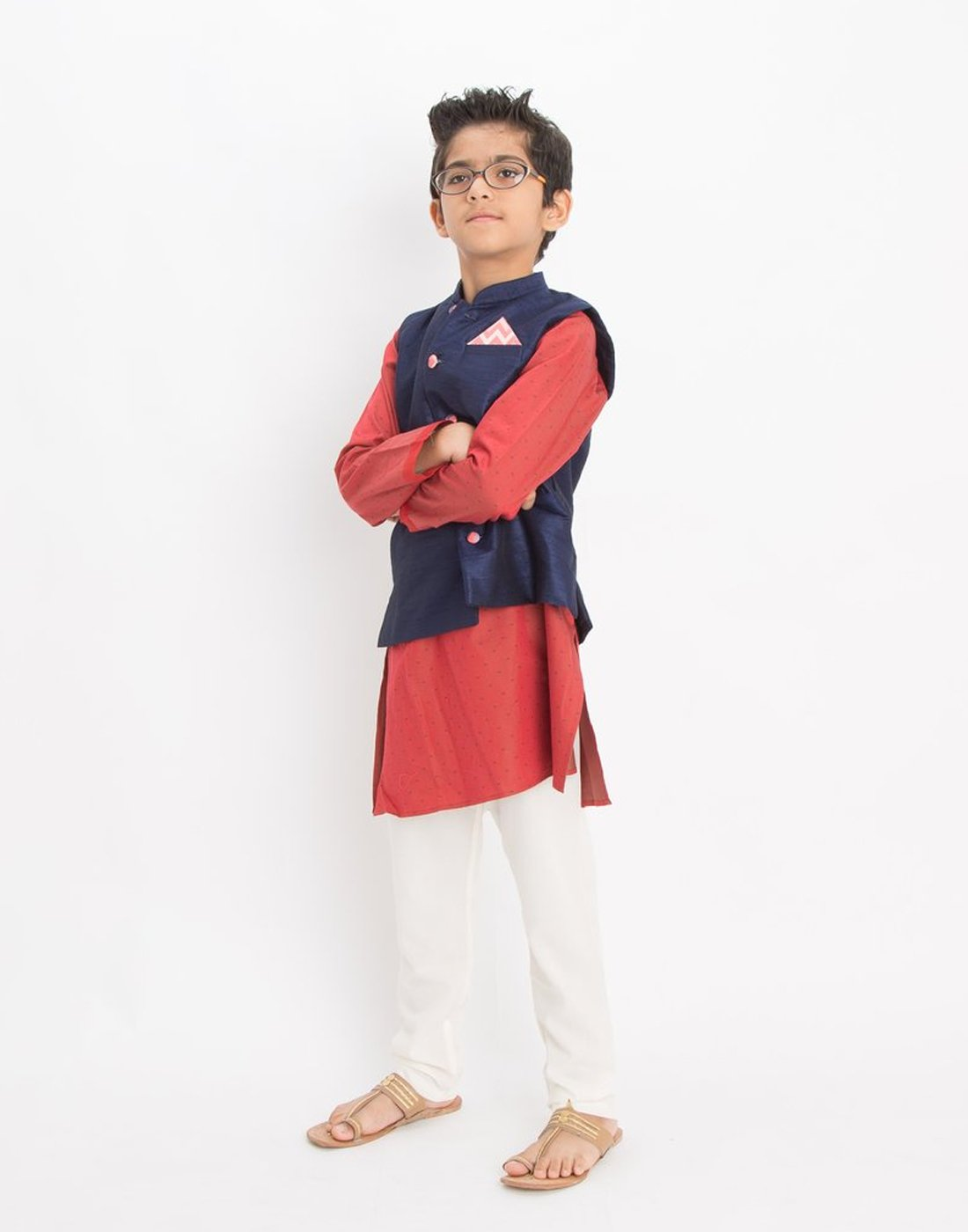 Maroon Satin Kurta Set