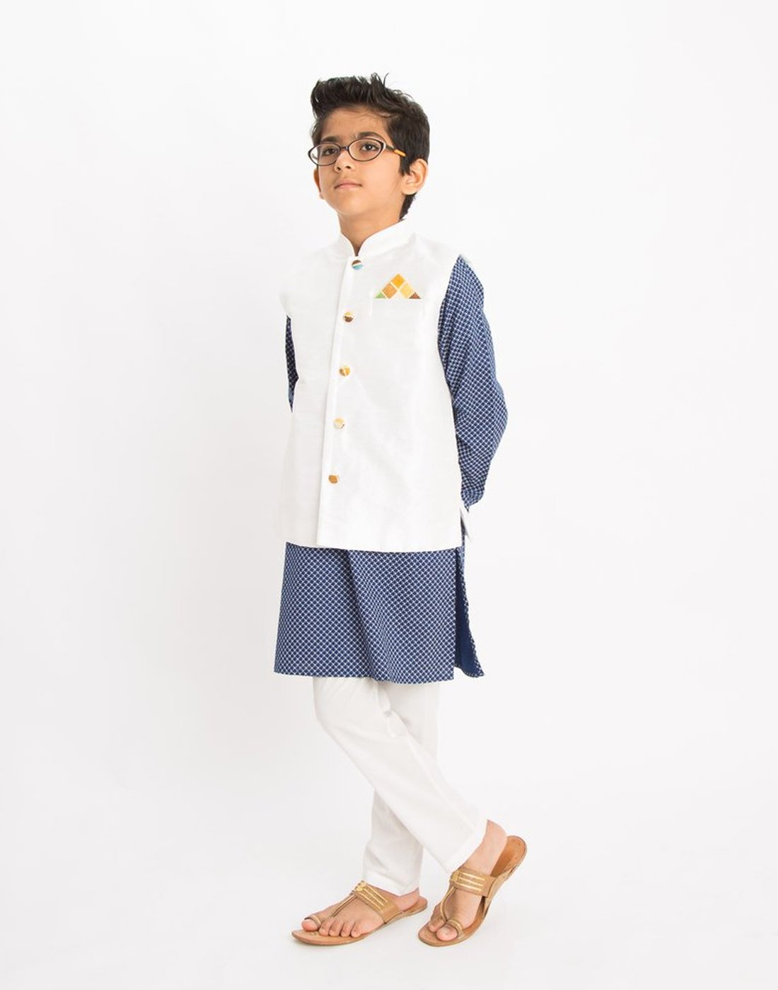 Blue Herringbone Kurta Set