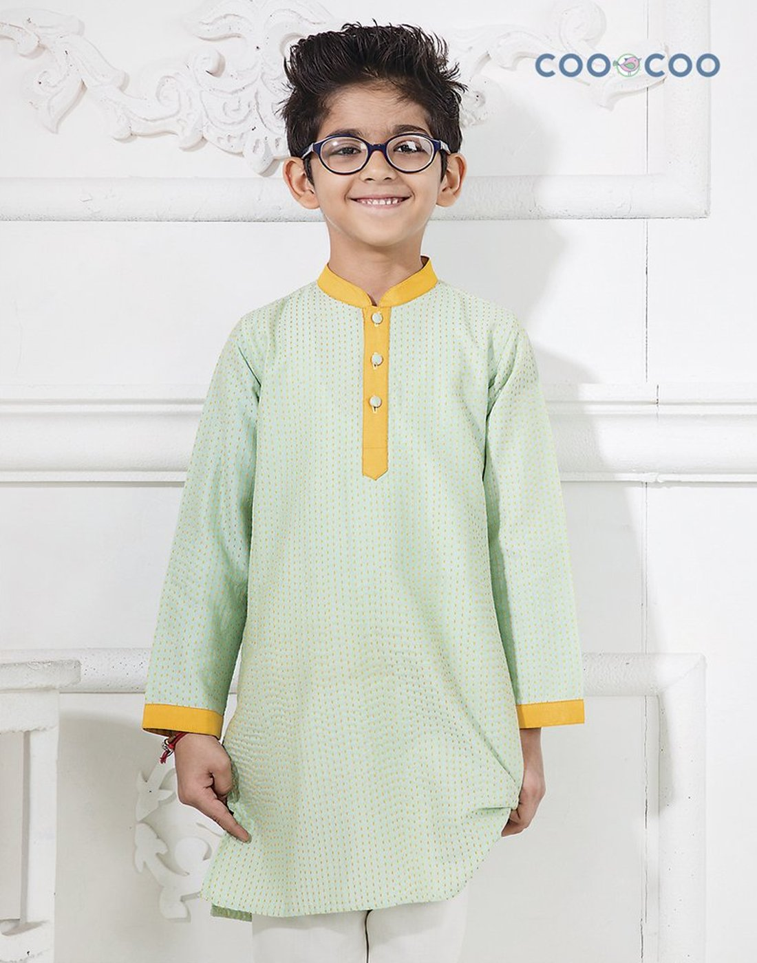 Green Katha Embroidered Kurta