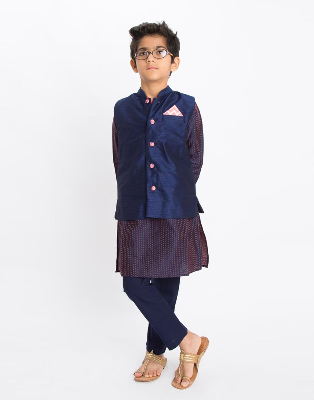 Blue Katha Embroidered Kurta Set