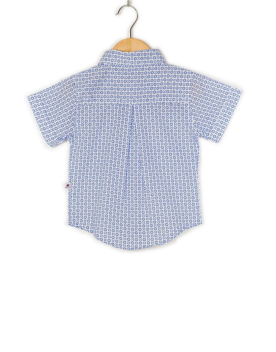 COO COO 'The Parth' Flower Printed Mal Half Sleeve Shirt - White & Blue