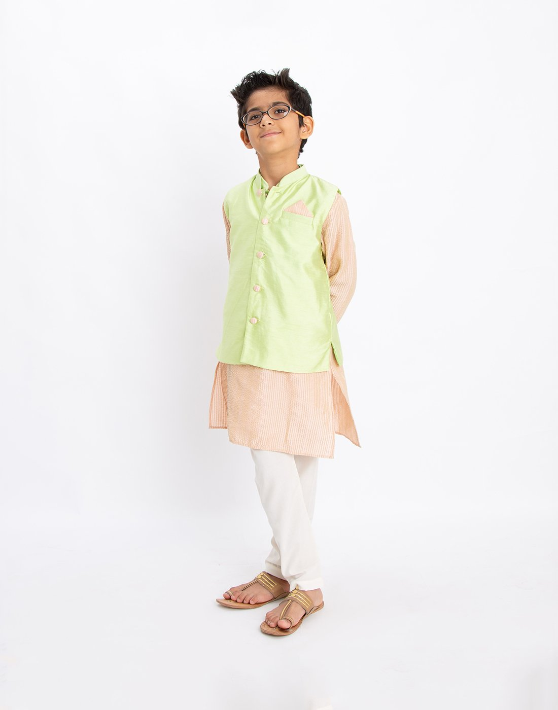 Peach Kantha Kurta Set