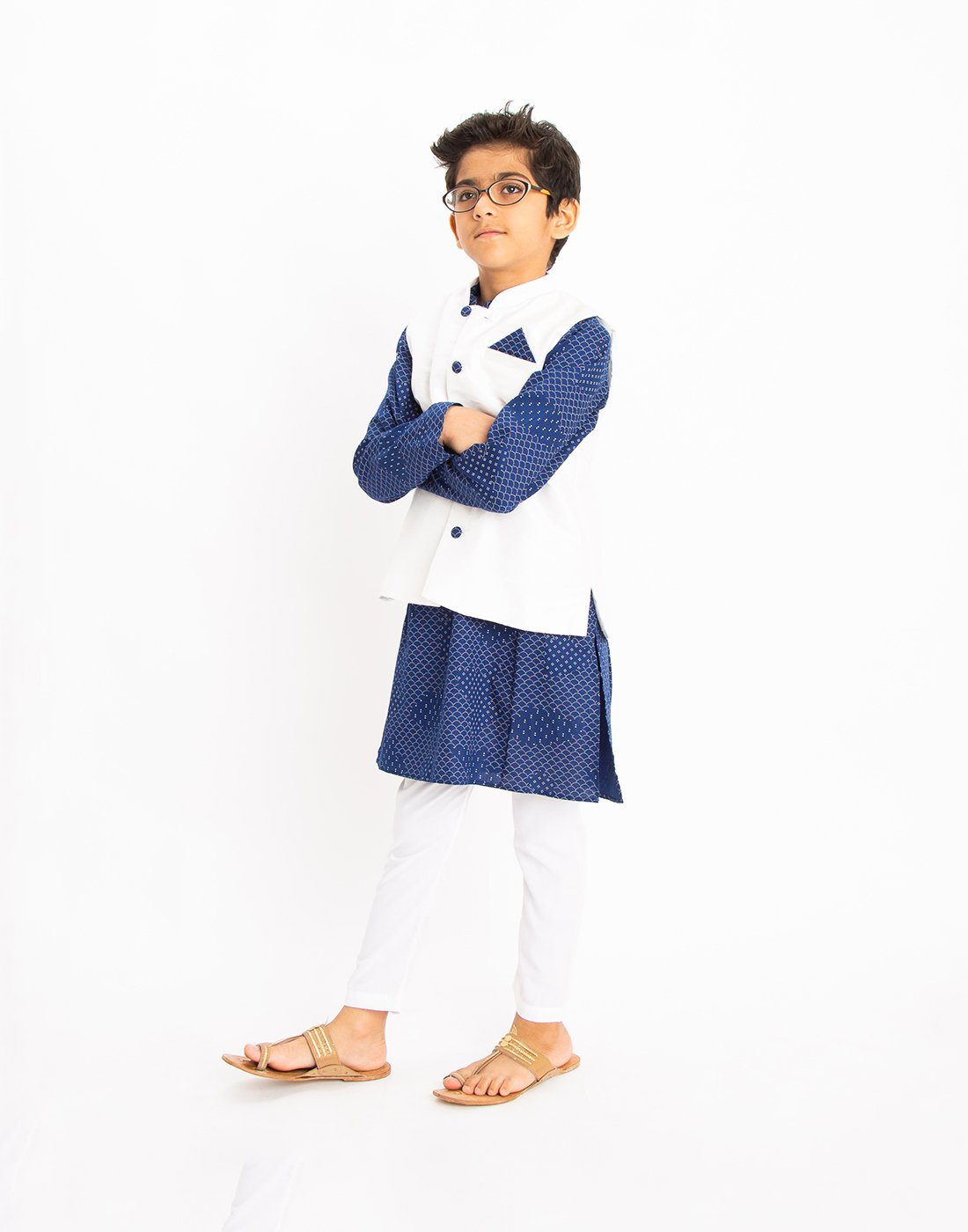 Indigo Scallop Kurta Set