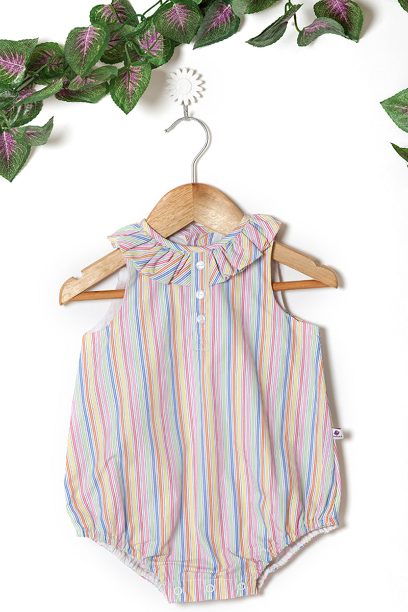 Candystripe with Frill Collar Romper
