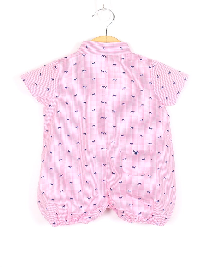 Pink Horse Checks Romper