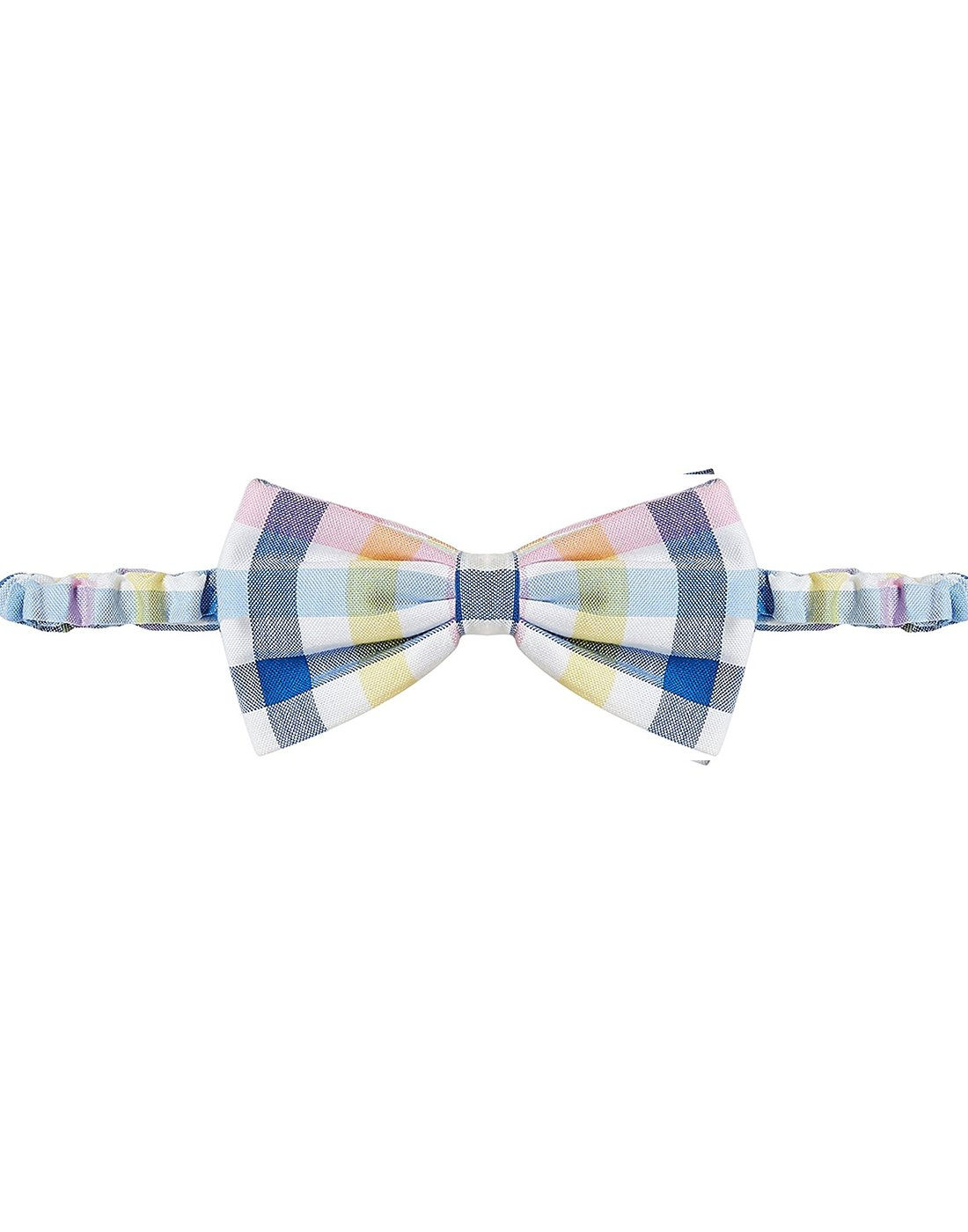 Pink Blue Checks Bow Tie