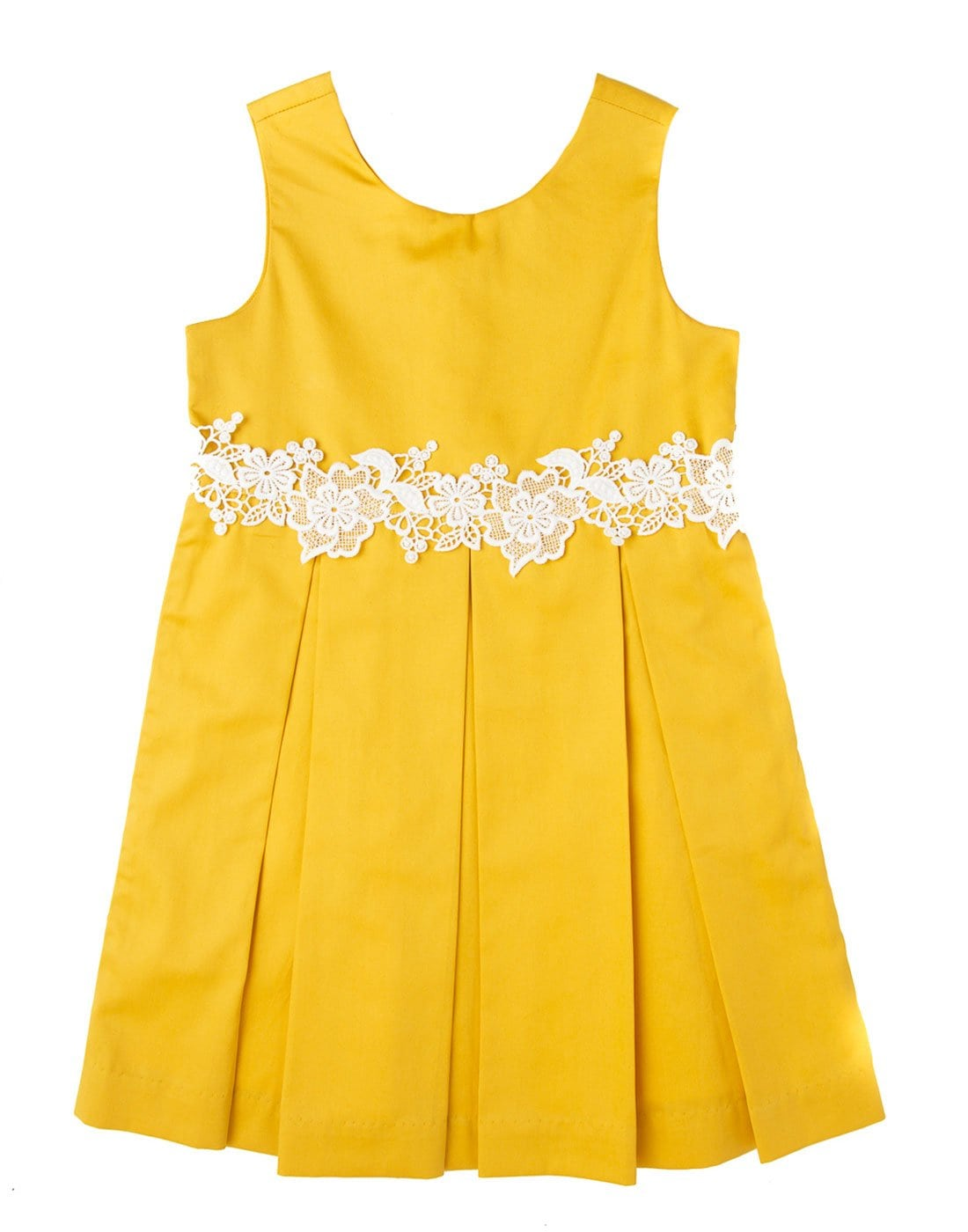 Canary Yellow Pleated Lace Dress
