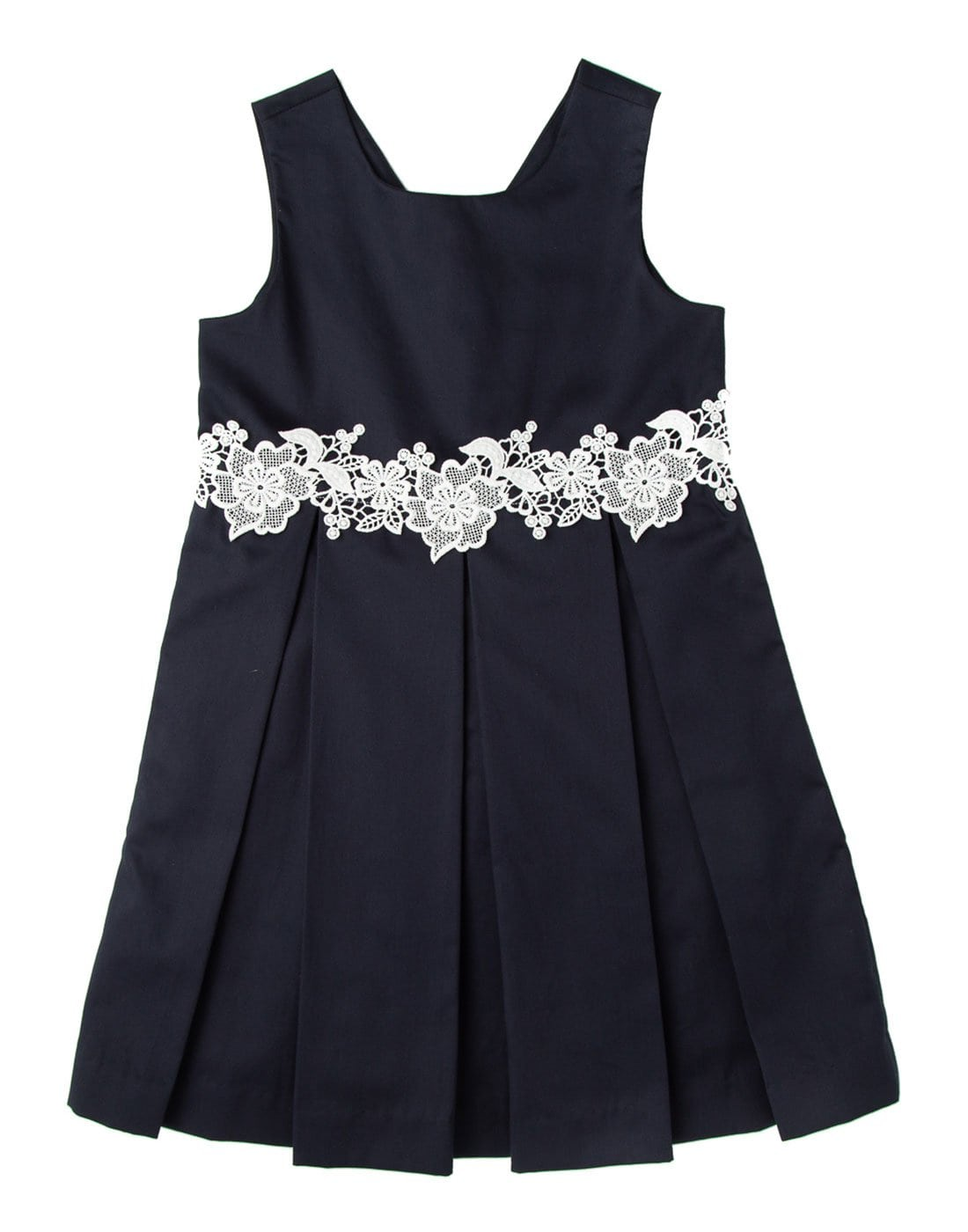 Navy Blue Pleated Lace Dress