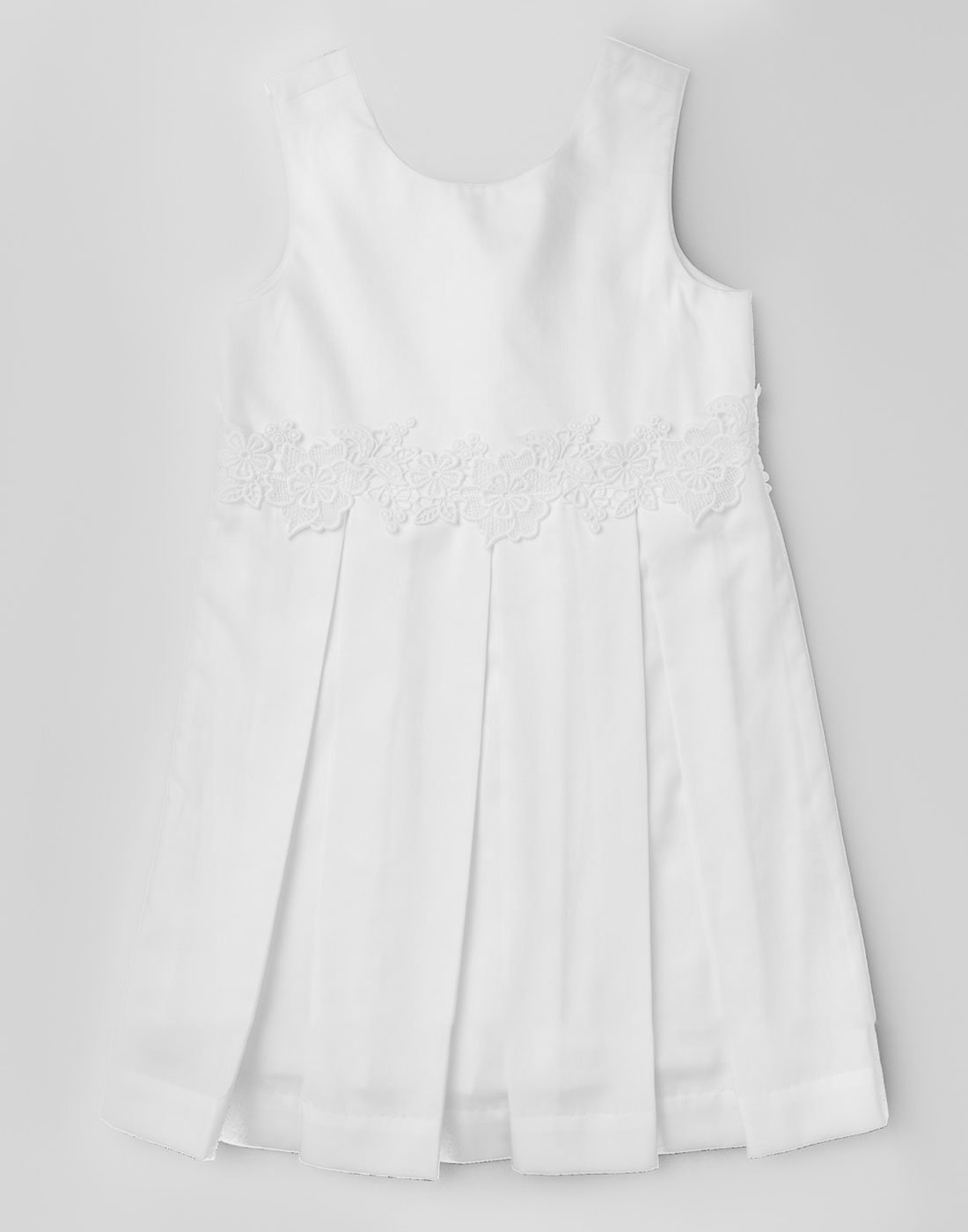 White Pleated Lace Dress
