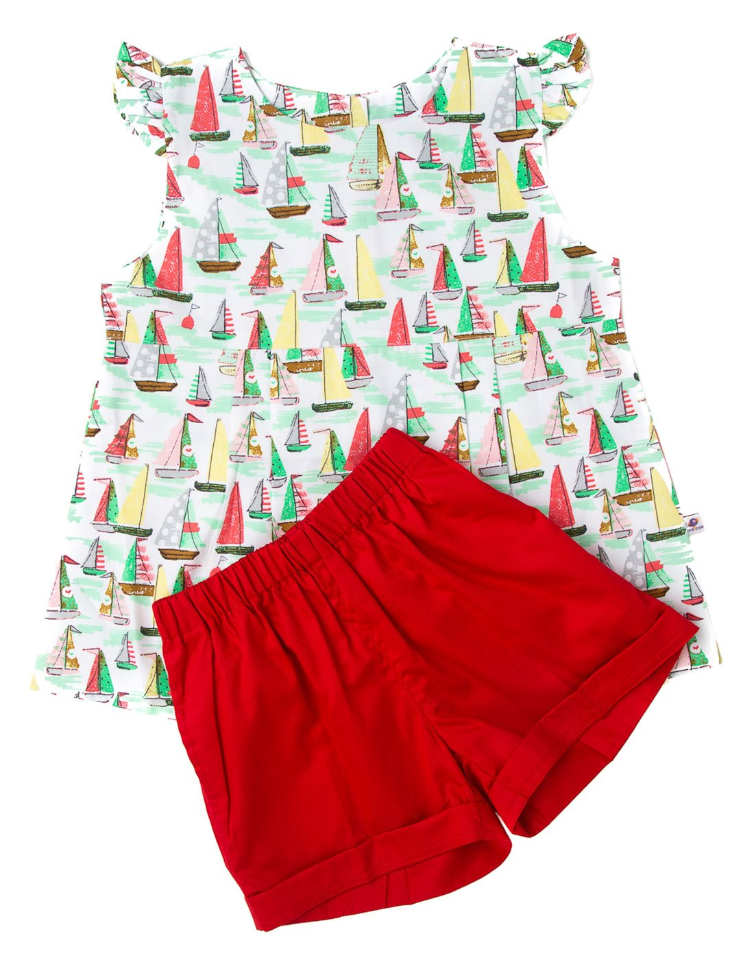 Boat Printed Top With Red Shorts