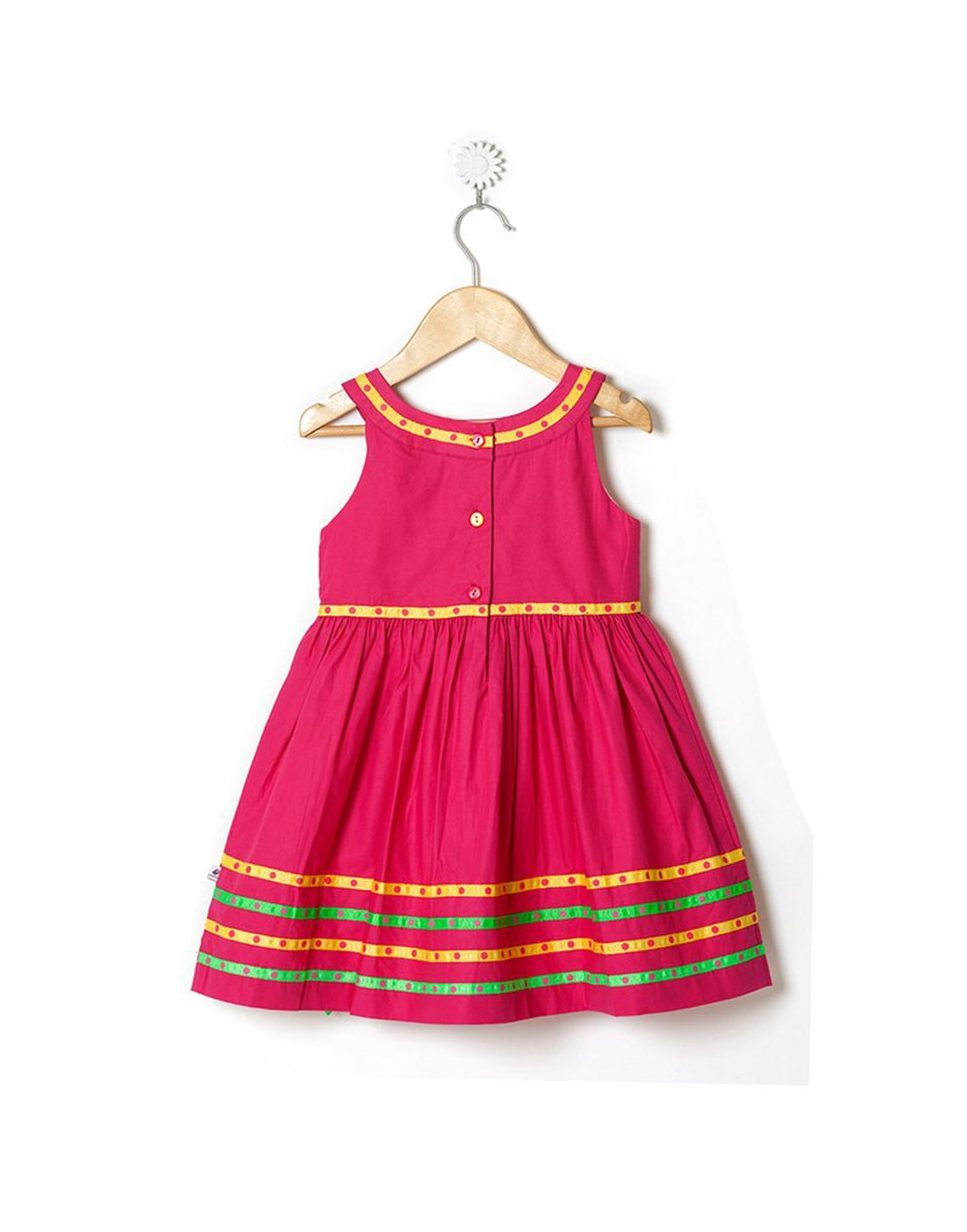 The Rhea - Sleeveless Flared Rani Pink Dress with Yellow & Green Polka Ribbons