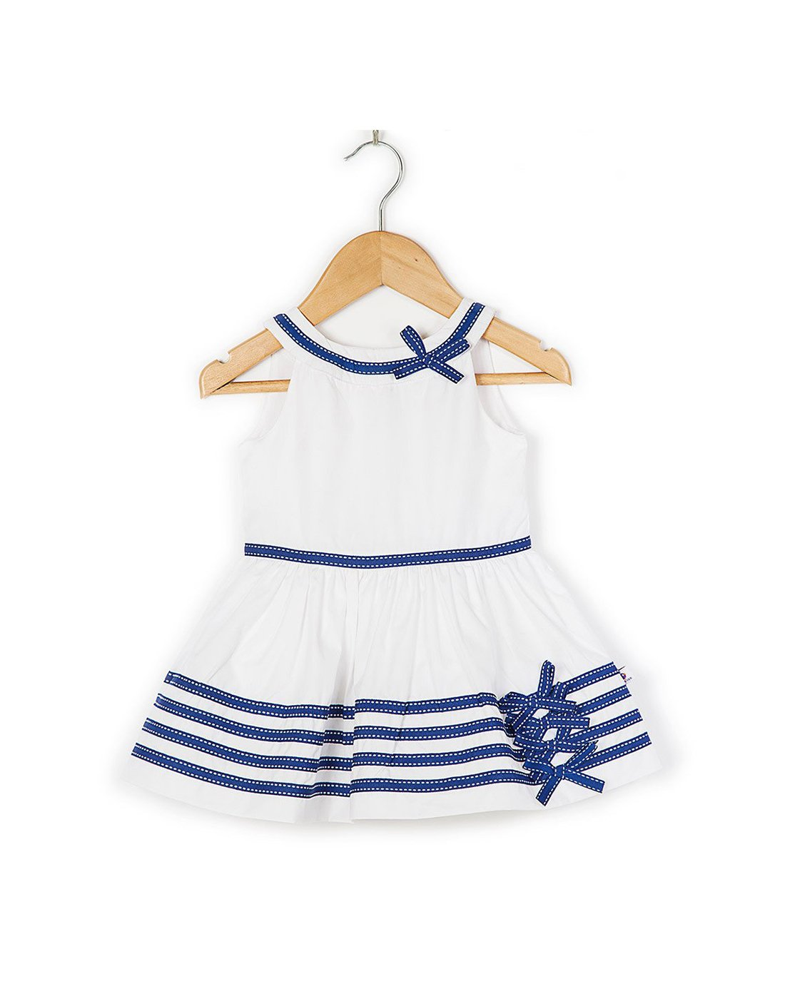 COO COO 'The Rhea' Flared Ribbon Semi-Formal Dress - White/Navy Ribbon