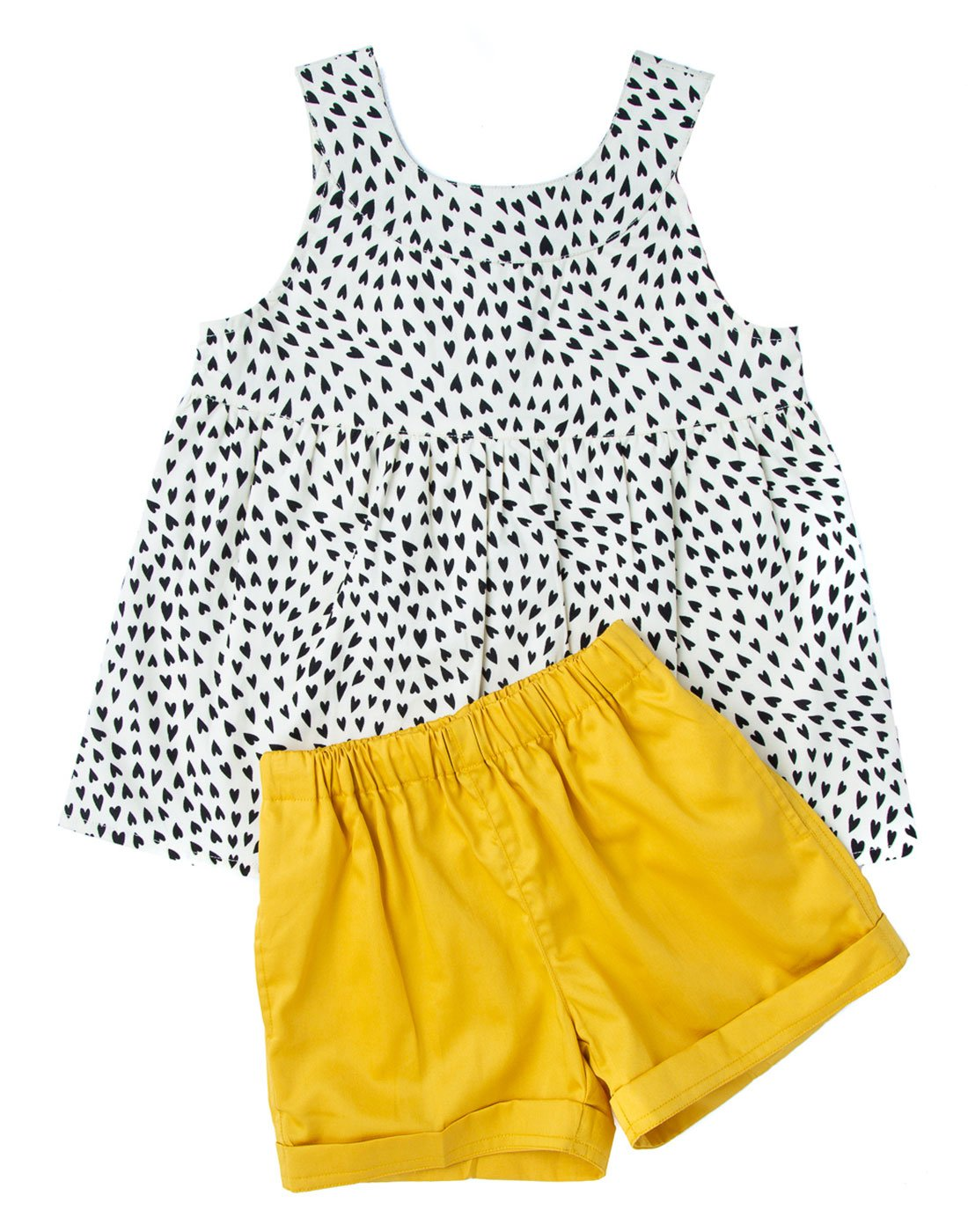 Black Heart Printed Top With Canary Shorts
