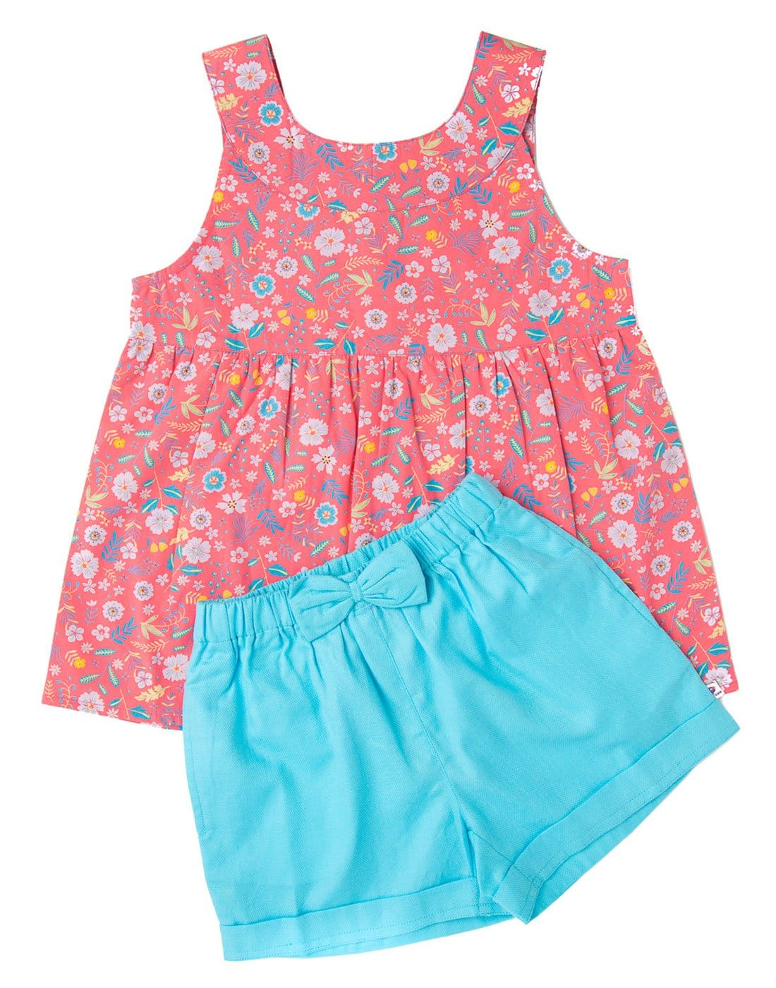 Candy Pink Printed Floral Top With Blue Shorts