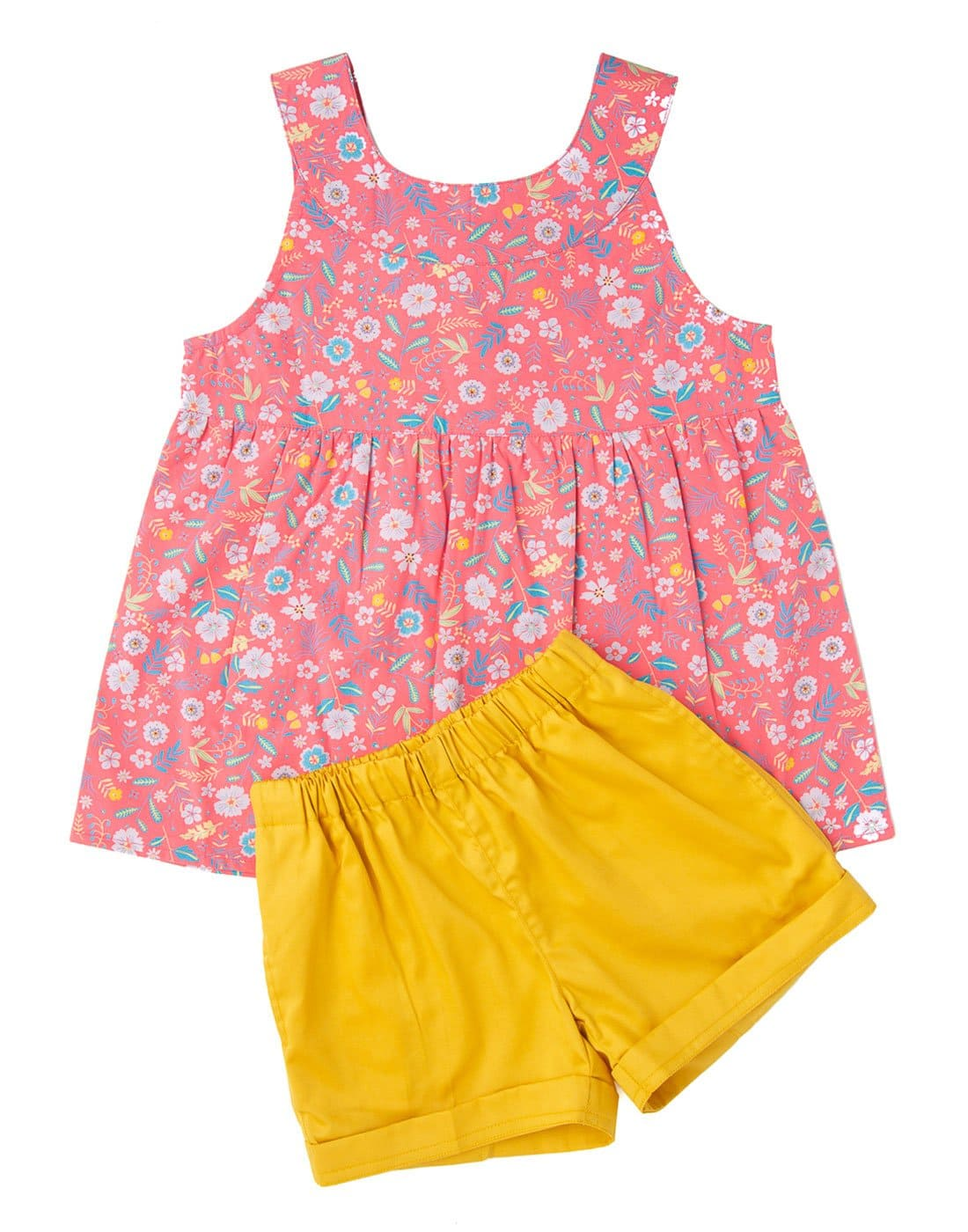 Candy Pink Printed Floral Top With Mustard Shorts