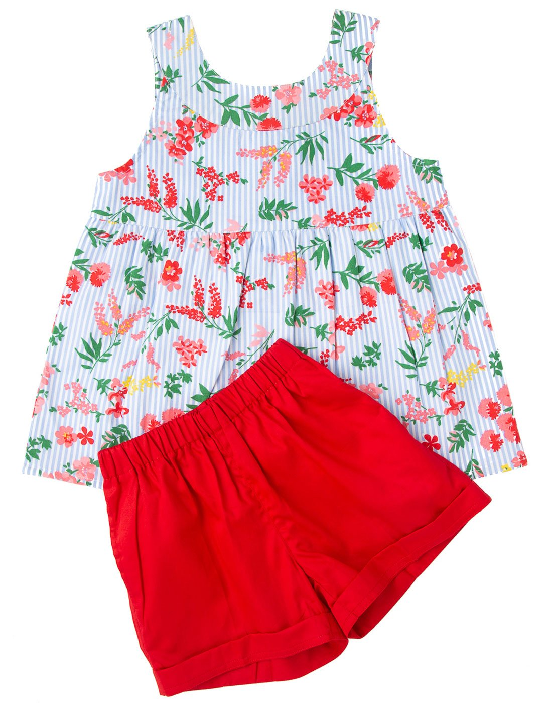 Striped Floral Printed Top With Red Shorts