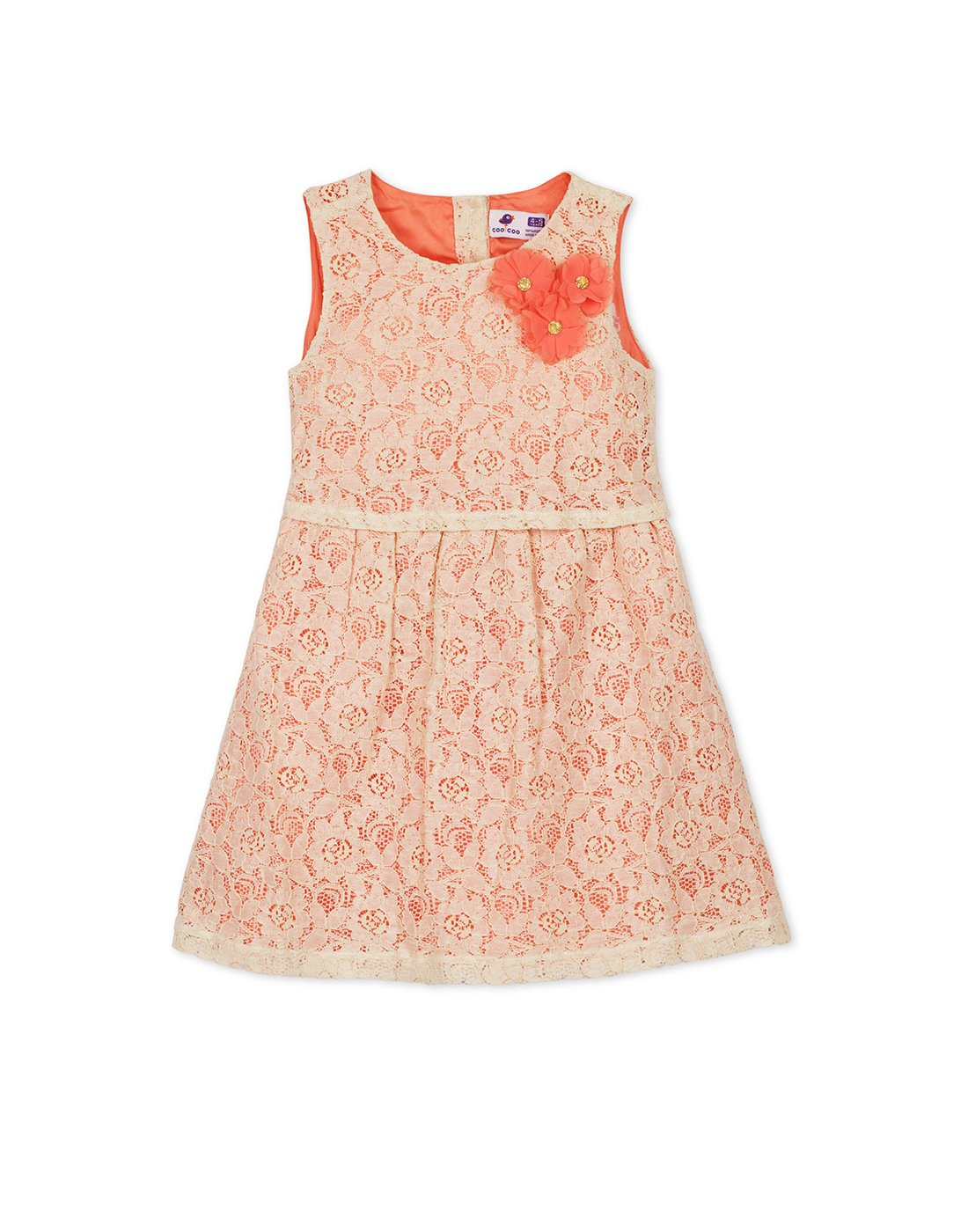 Beige & Coral Embroidered Dress
