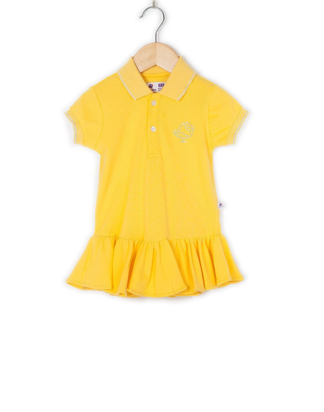 COO COO Polo Dress with Diamonte Logo - Yellow