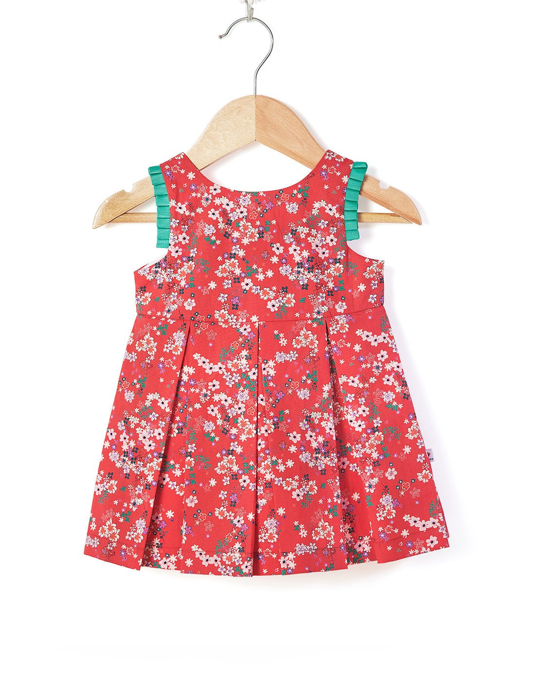 Pleated Sateen Floral Dress