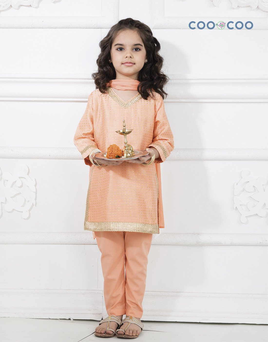 Peach Chanderi Kurta Set