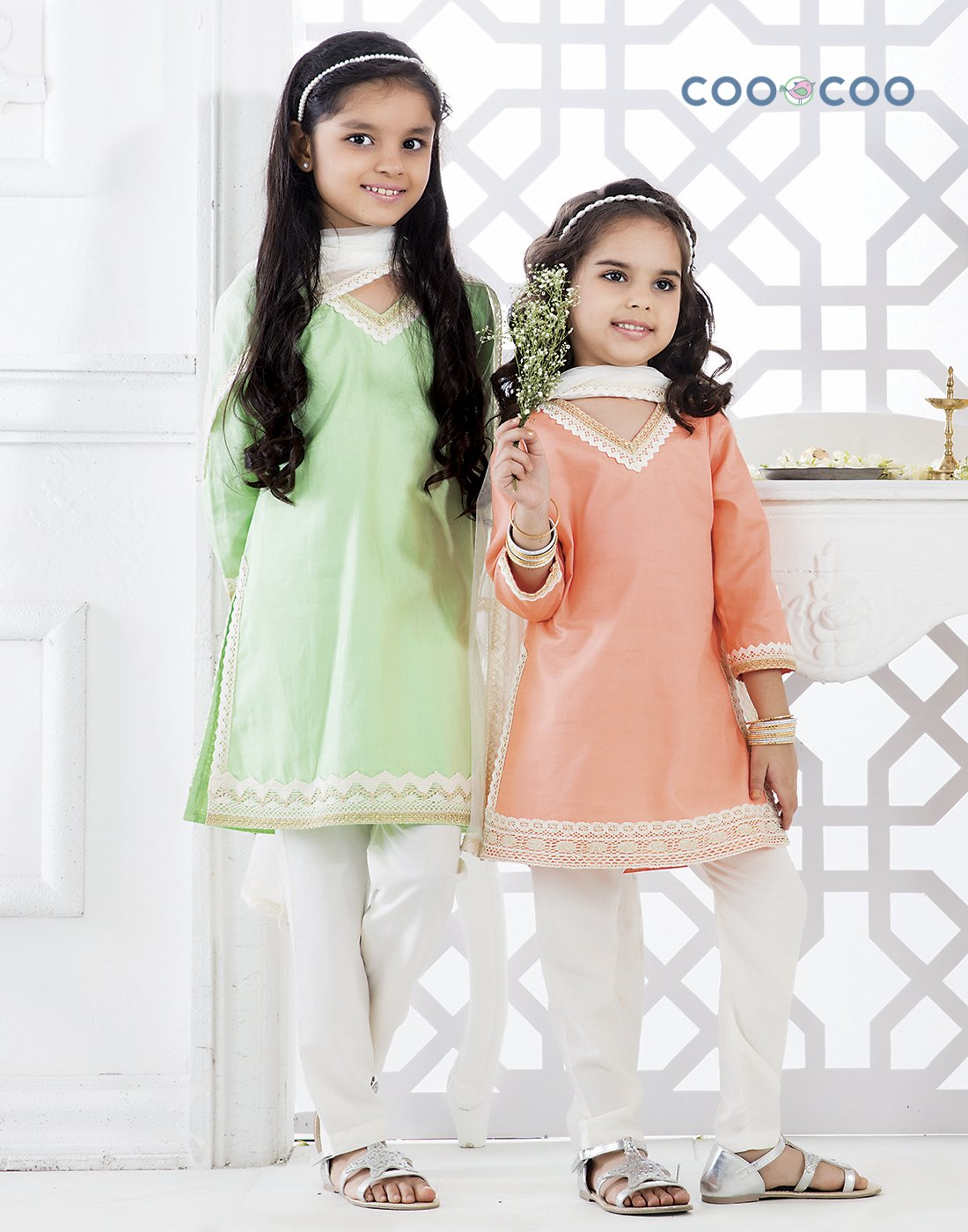 Green Cotton Dobby Kurta Set