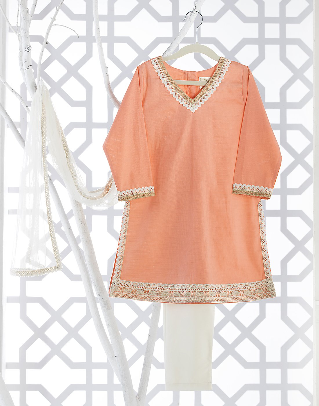 Peach Cotton Dobby Kurta Set
