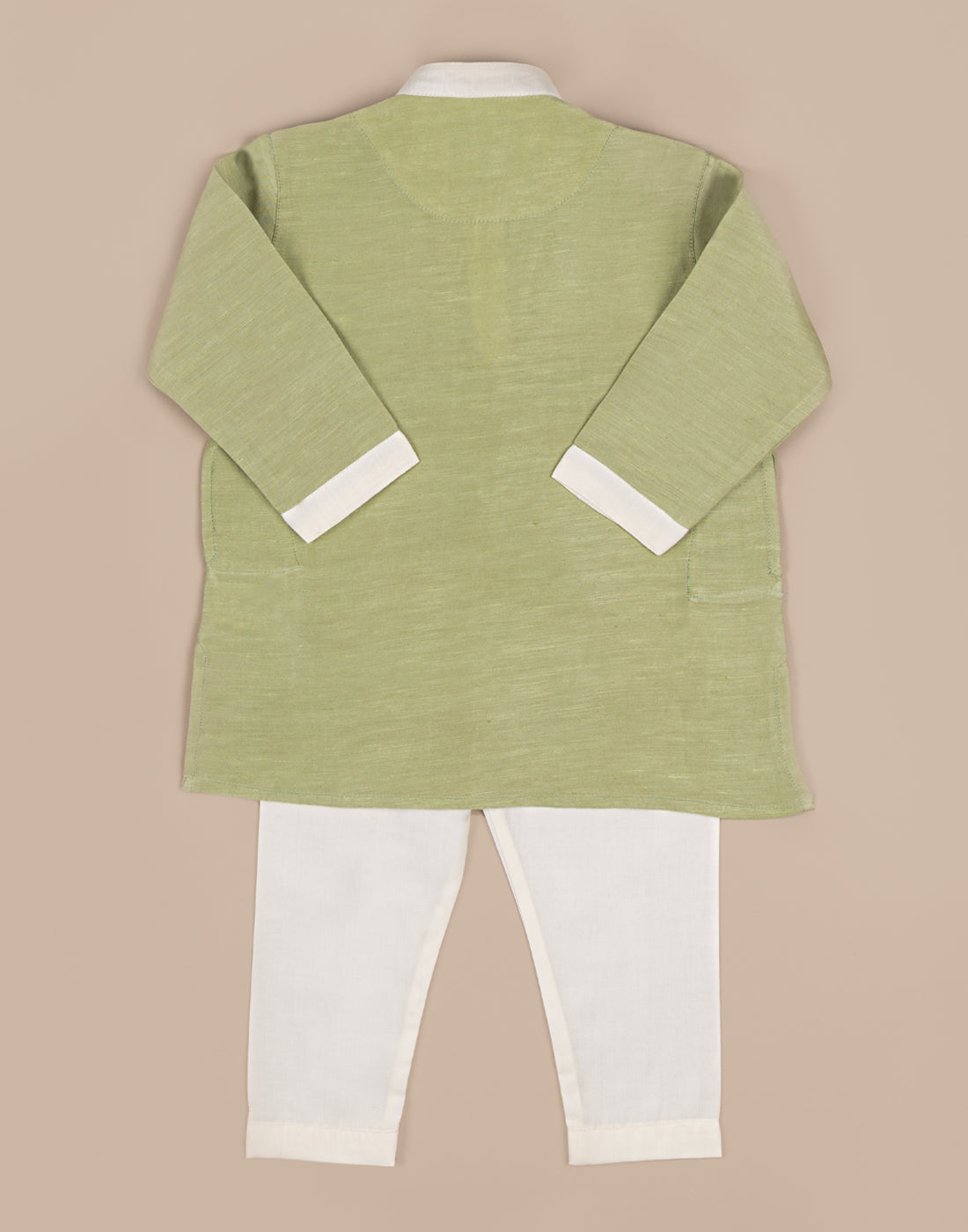 Green Satin Linen Kurtha
