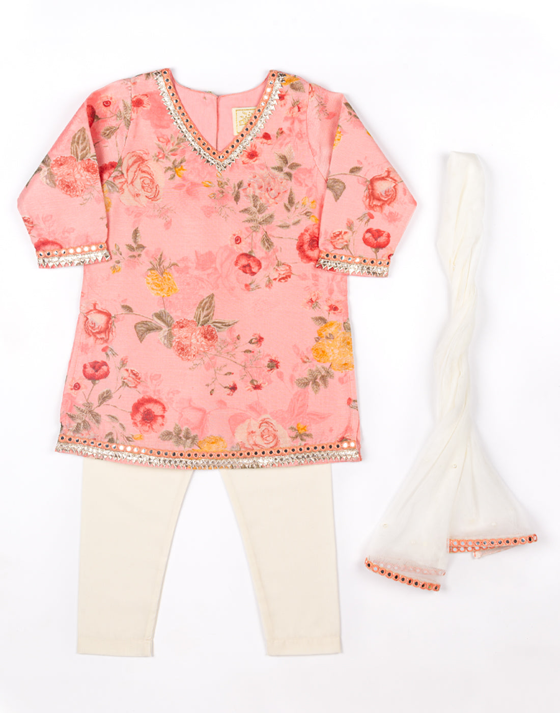 Peach Chanderi Floral Kurtha