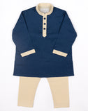 Navy Beige Polka Kurtha Set