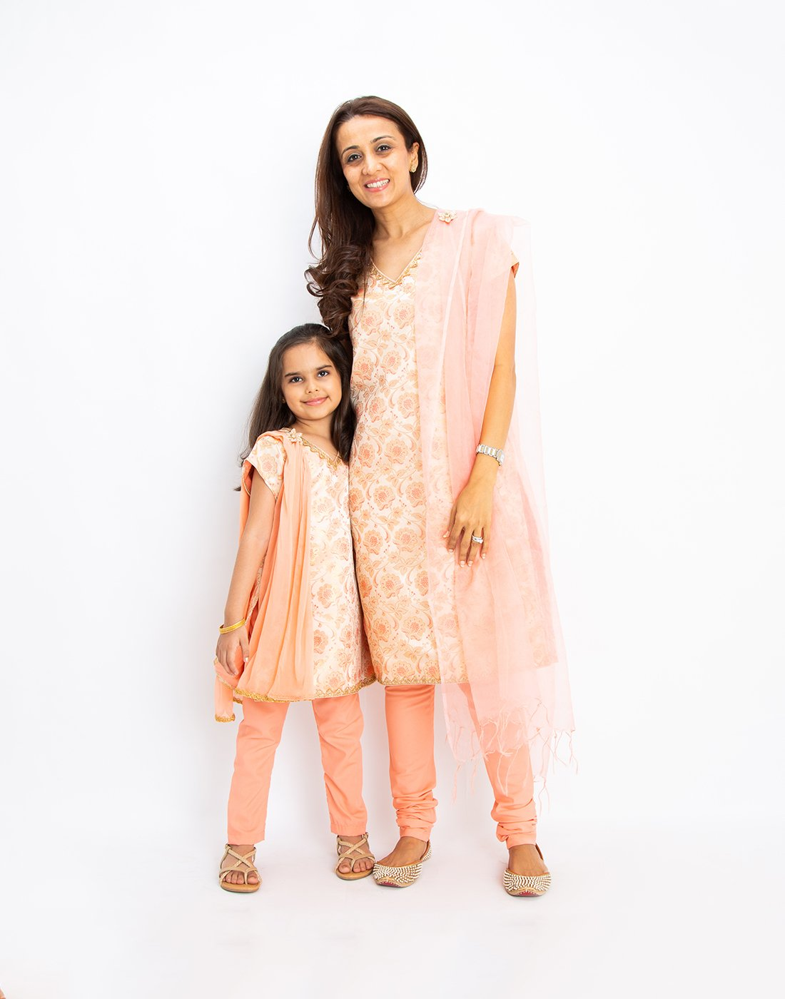 Peach Silk Brocade Kurta Set