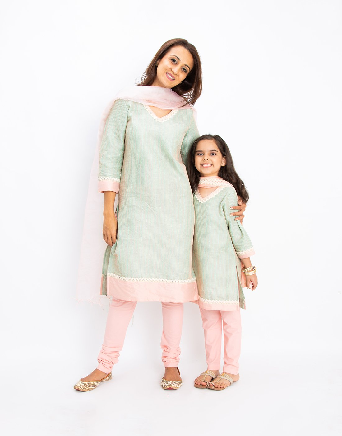 Mint Kantha Kurta Set