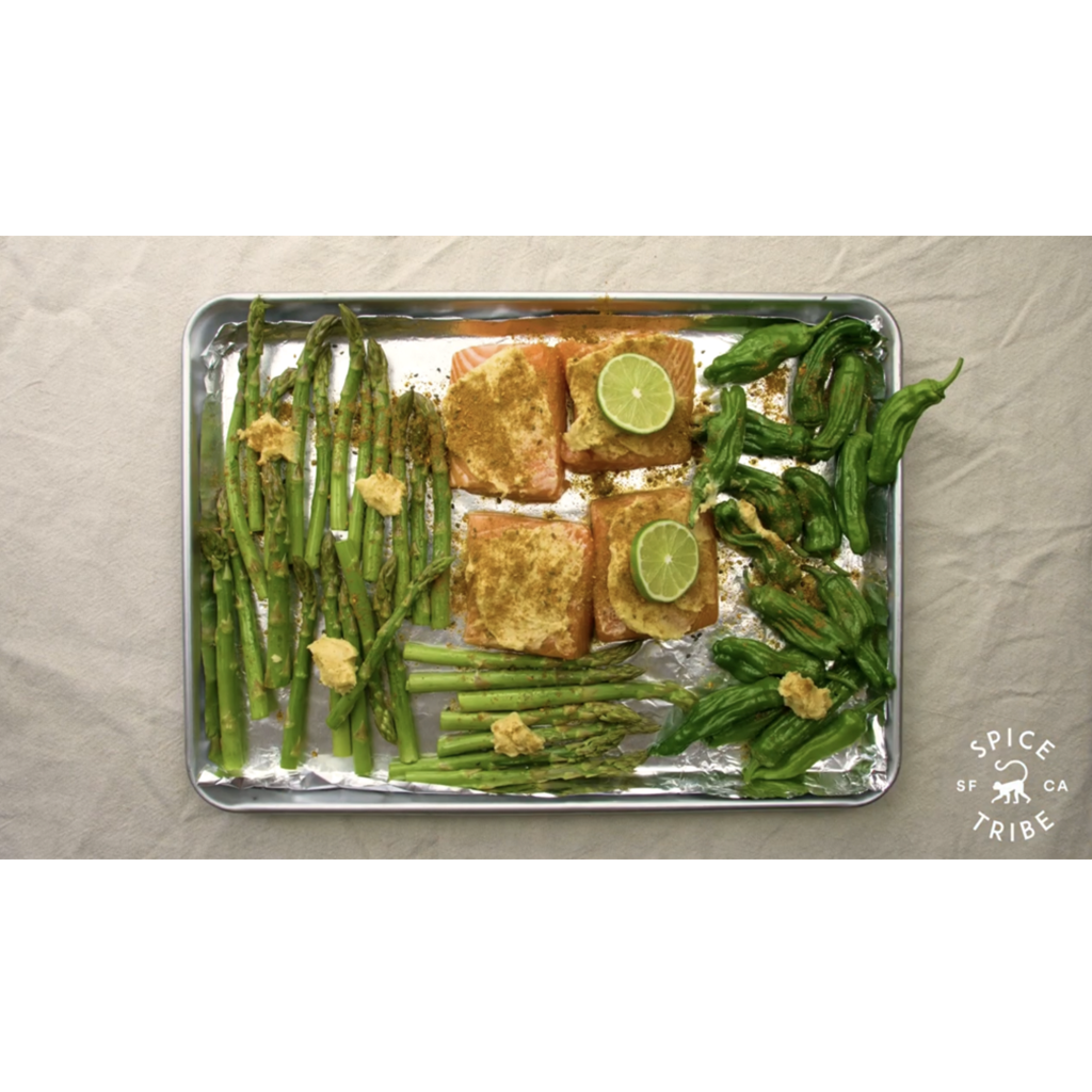 Miso Baked Salmon with Asparagus and Shishito Peppers