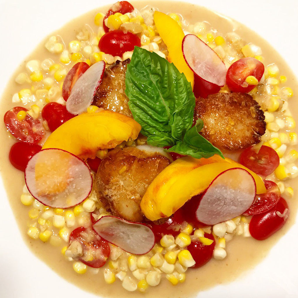 COCONUT CORN CURRY WITH SCALLOPS AND TOMATOES